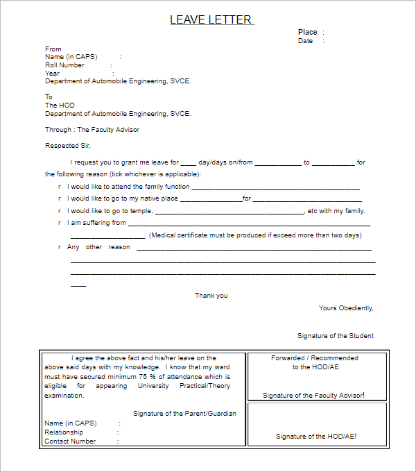 Leave Letter Template For Manager
