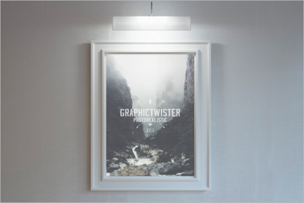 Lighted Poster Frame mockup Free