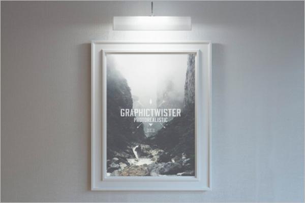 Lighted Poster Frame mockupFree