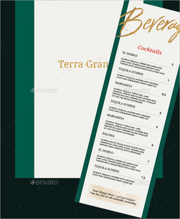 Long Drink Menu Design