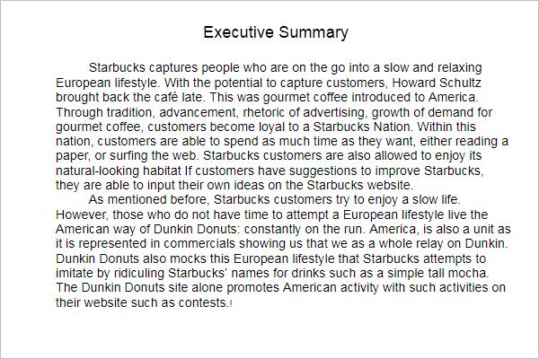 Marketing Executive Summary PDF