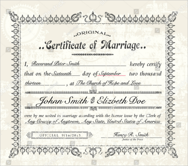 printable marriage certificate free template - Free Word Certificate Templates