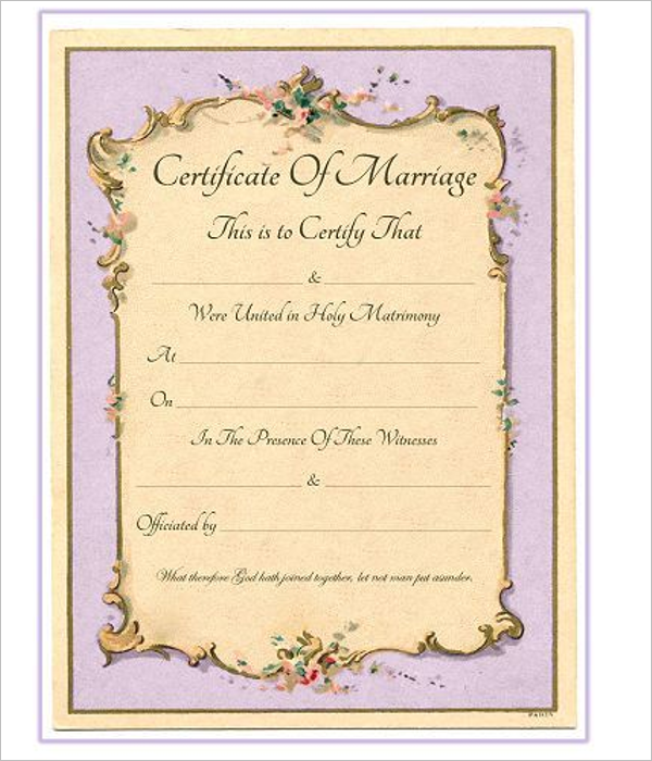 Formal Marriage Certificate Design Template In Psd Word: 42+ Free Marriage Certificate Templates Word, PDF, Doc