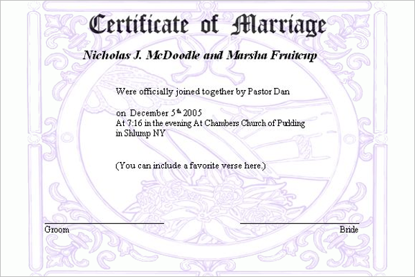 Marriage Certificate Template Free Sample