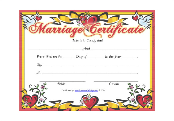 Marriage Certificate Template PDF