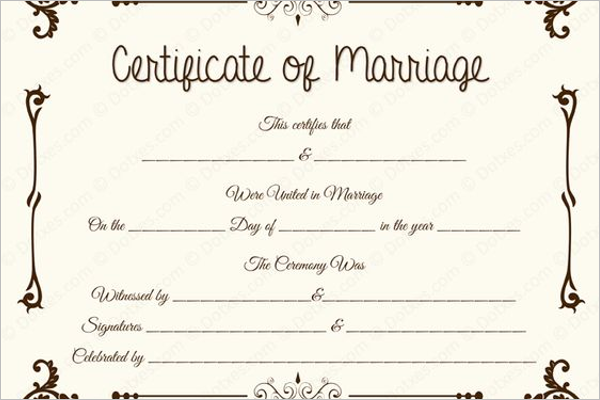 Marriage Certificate Template Vector