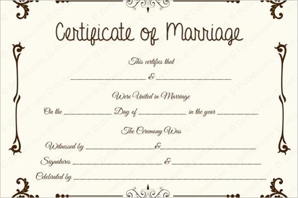 Marriage Certificate Template Vector
