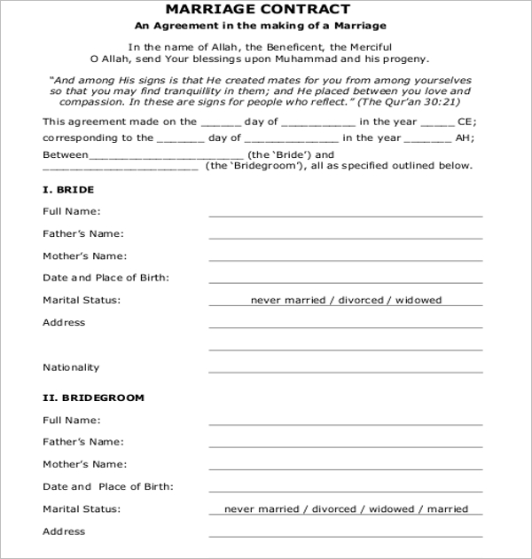Marriage Contract Free Download