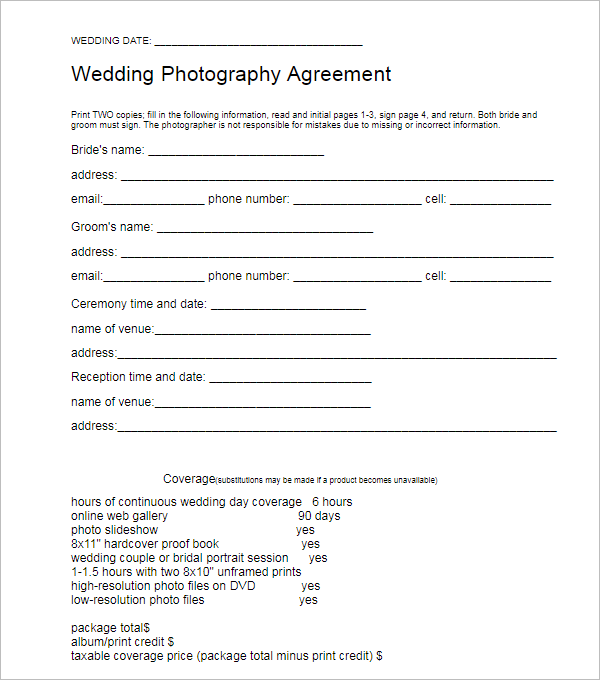 Marriage Photography Contract Template