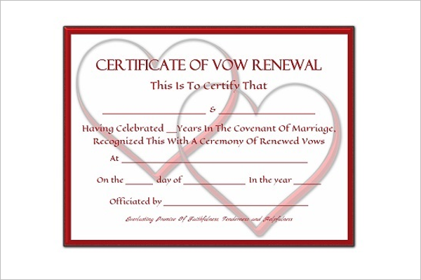 Marriage Vow Renewal Certificate Template