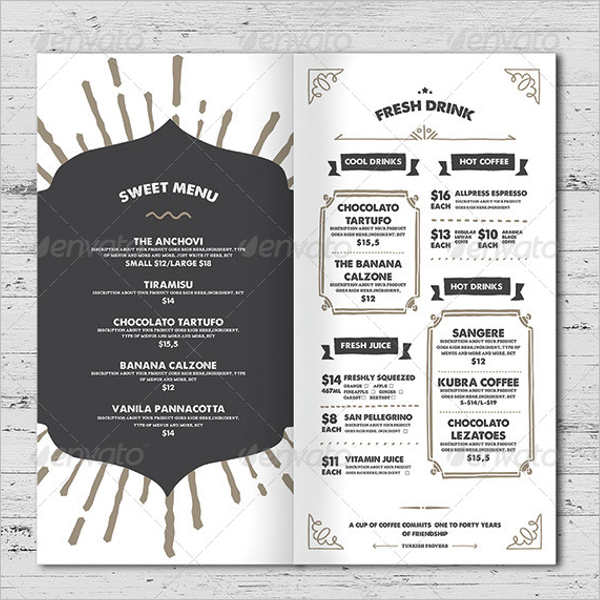 Menu Card Template Word