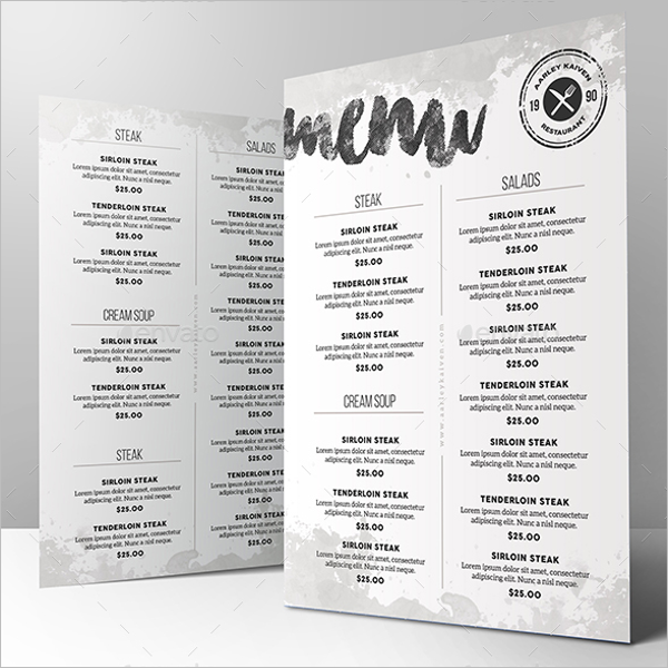 Minimal Menu Card Design