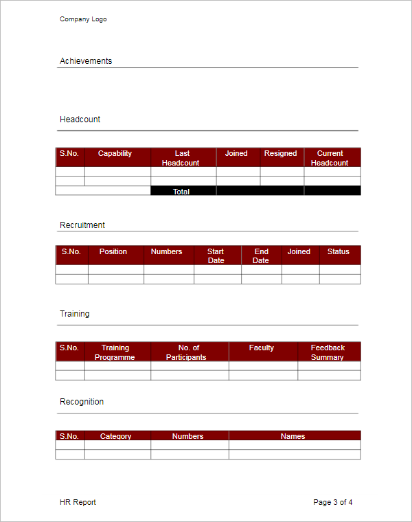 Monthly HR Report Template