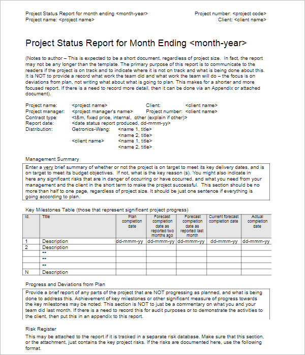 MonthlyProject Report Template