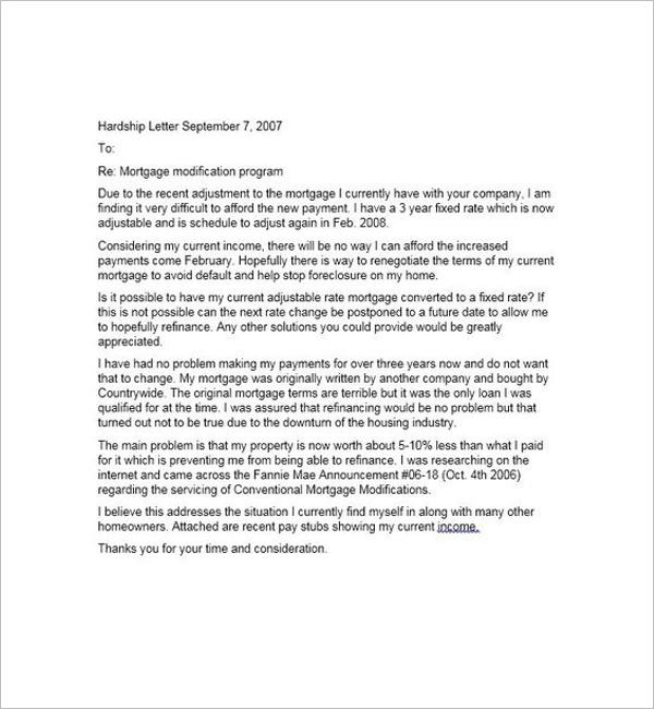 Mortgage Letter for Hardship
