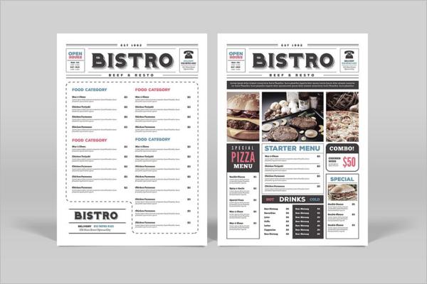 Newspaper Style Menu Card Design