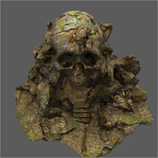 Old Cave Skull 3D Design