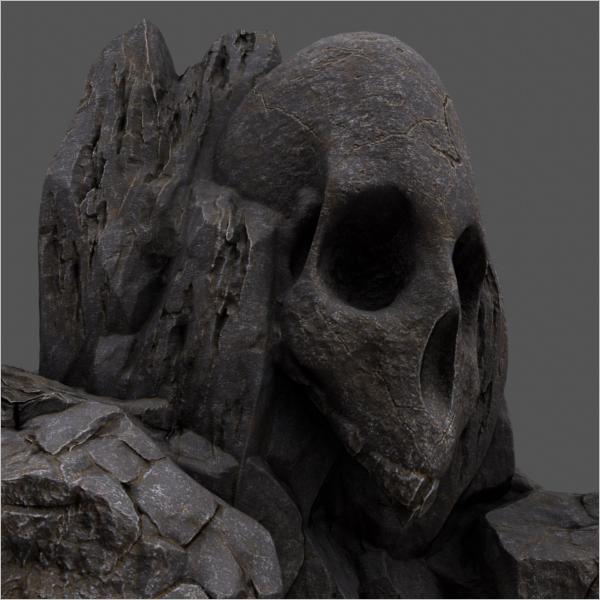 Rock Cave Type Skull Design