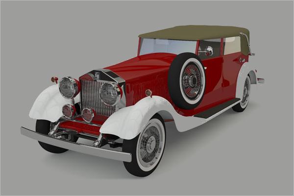 Old Luxury Car 3D Model