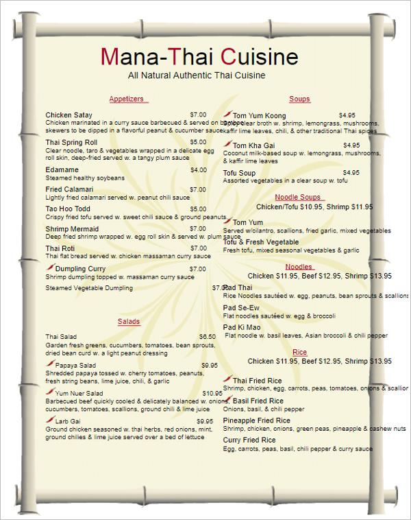 35 free menu templates word doc psd designs