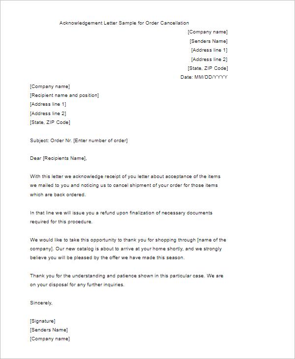 Order Cancellation Acknowledgement Letter Format