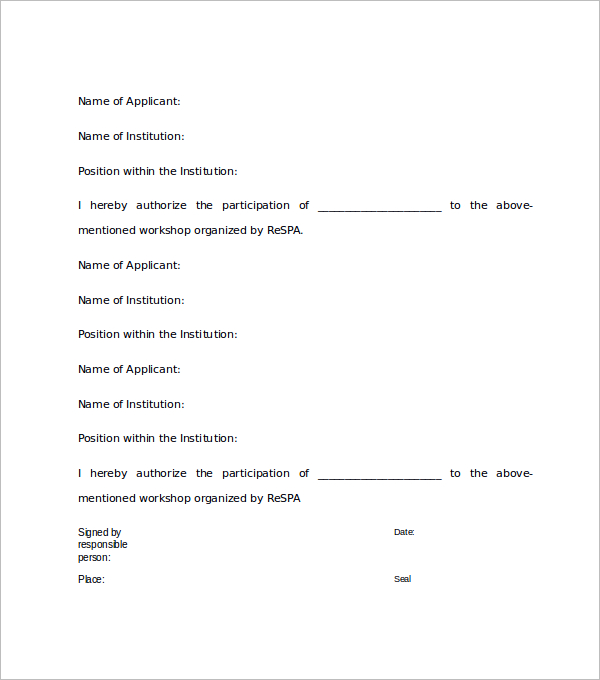 Participation Approval Letter Template