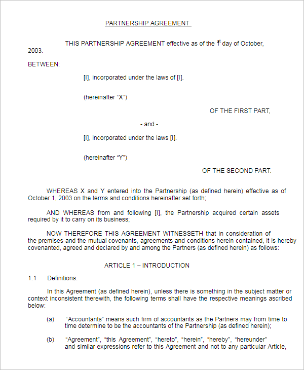 Partnership Agreement Format Sample