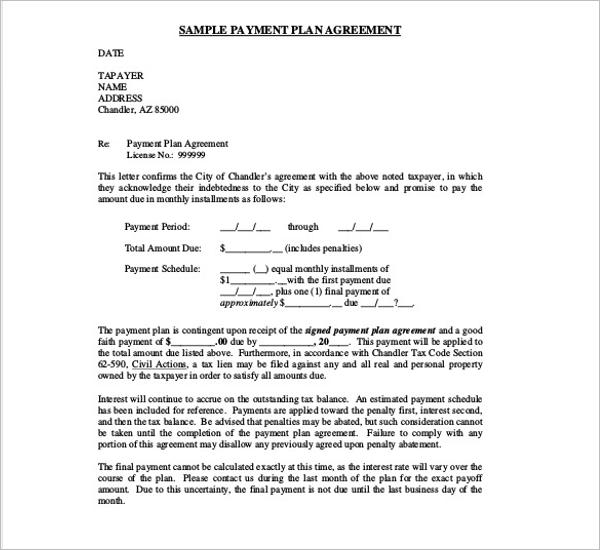 Payment Plan Agreement Template