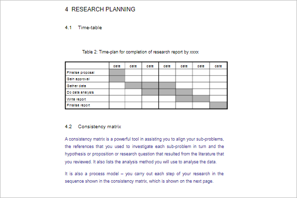 Planning Research Proposal Template