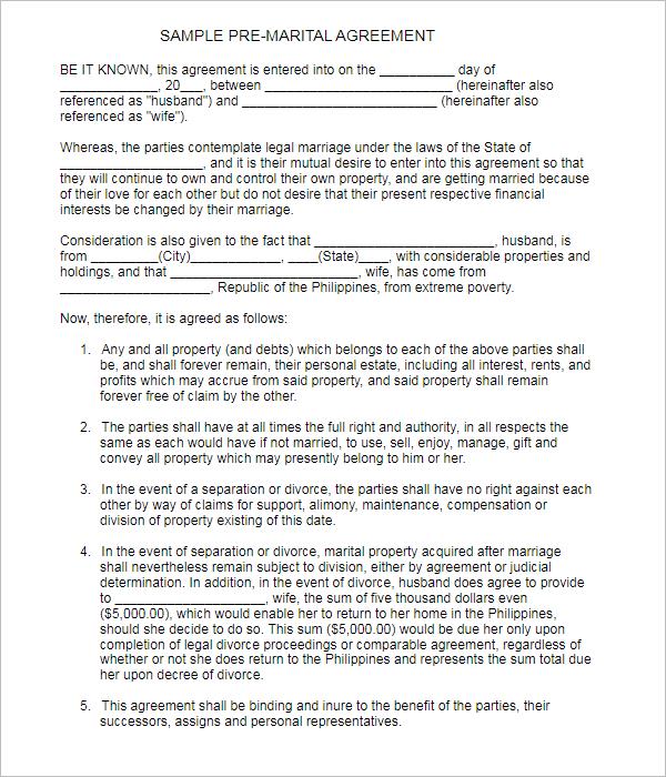 Pre-Marital Agreement Template