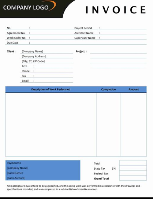 Printable Contractor Invoice Template