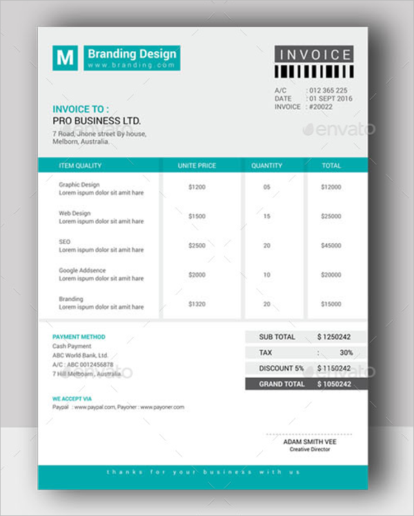 Printable Freelance Invoice Template