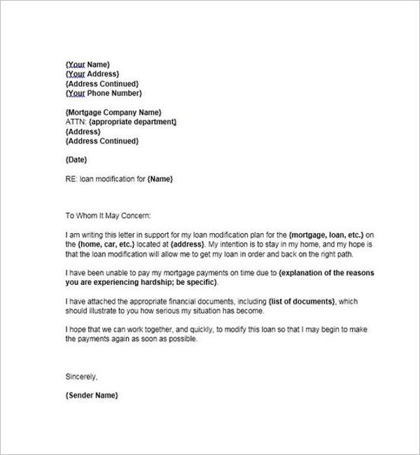 Printable Hardship Letter Format