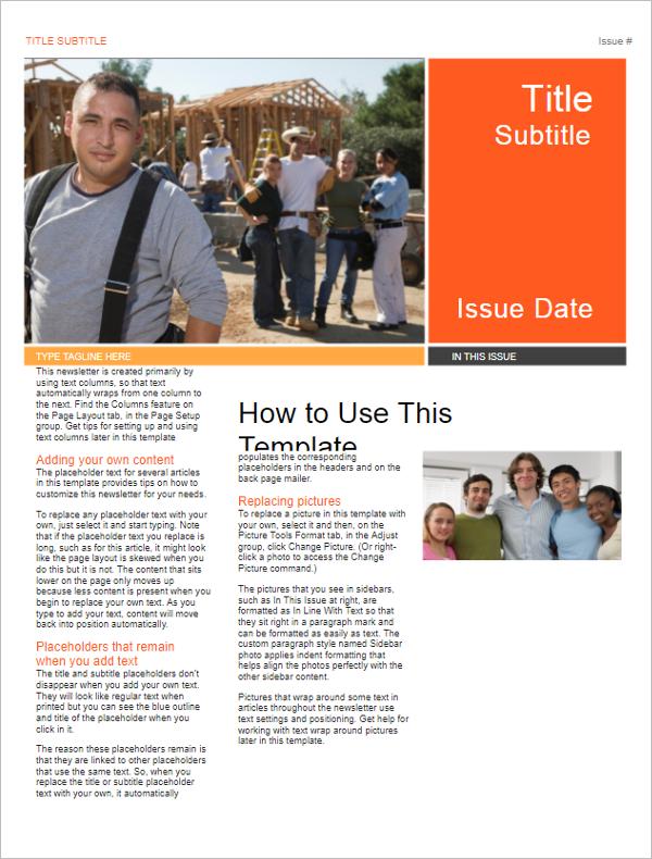 Printable School Newsletter Format  Newsletter Format