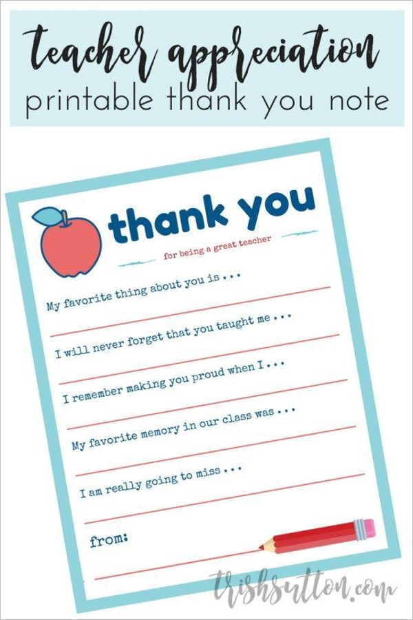 Printable Thank You Note Wording