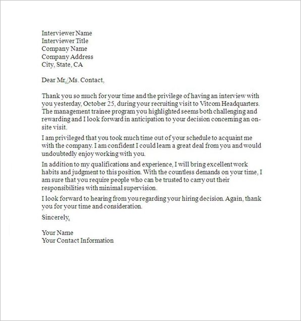 Professional Interview Thank You Note
