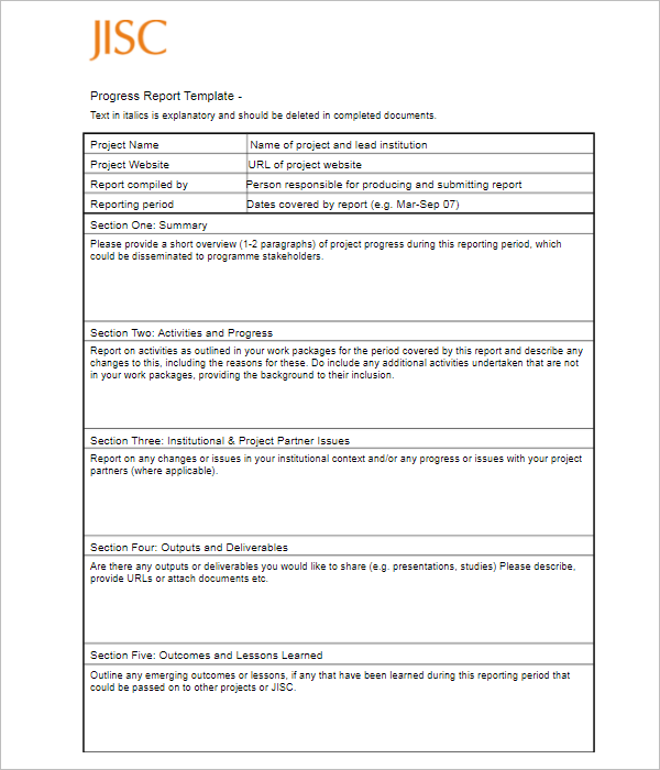 Progress Report Template For Business