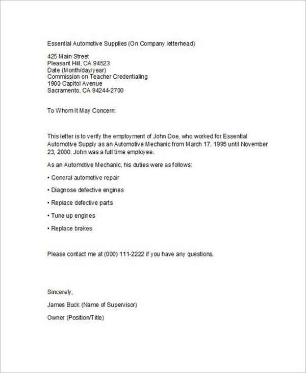 Proof Of Income Letter Template Example