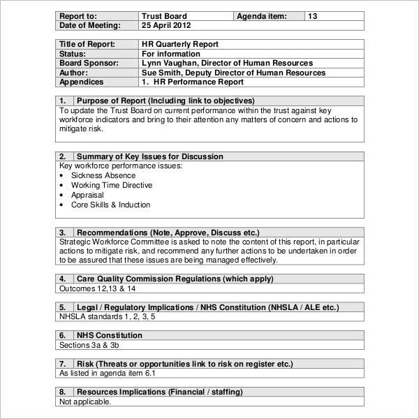 Quarterly HR Report Template Free Download