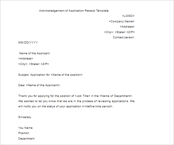ReceiptAcknowledgement Letter Template
