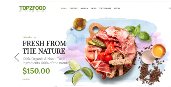 Restaurant eCommerce Joomla Template