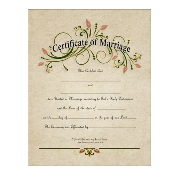 Retro Marriage Certificate Template