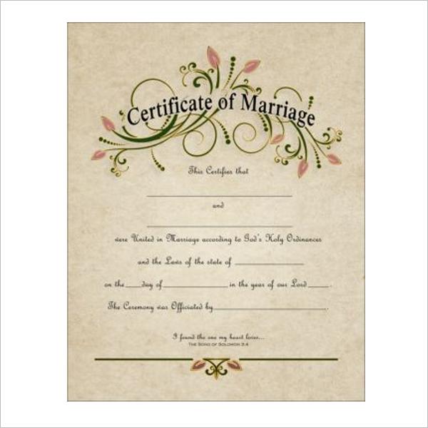 RetroMarriage Certificate Template