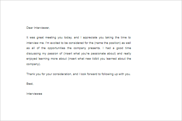 interview follow up letter template