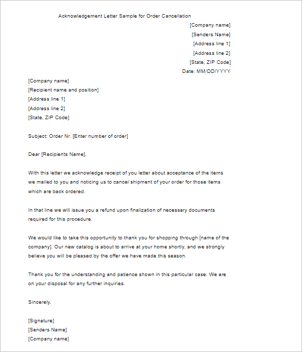 Sample Acknowledgement Letter Template
