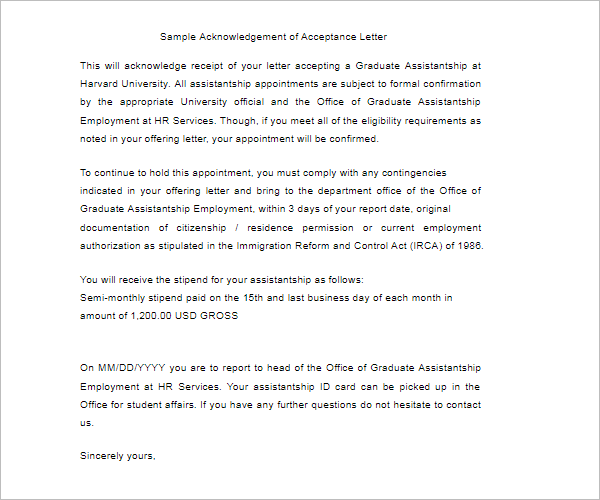 sample letter of acknowledgement receipt of payment