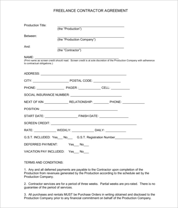 Sample Freelance Contractor Agreement Template