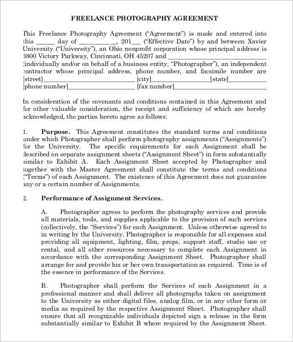 Sample Freelance Photography Contract Template