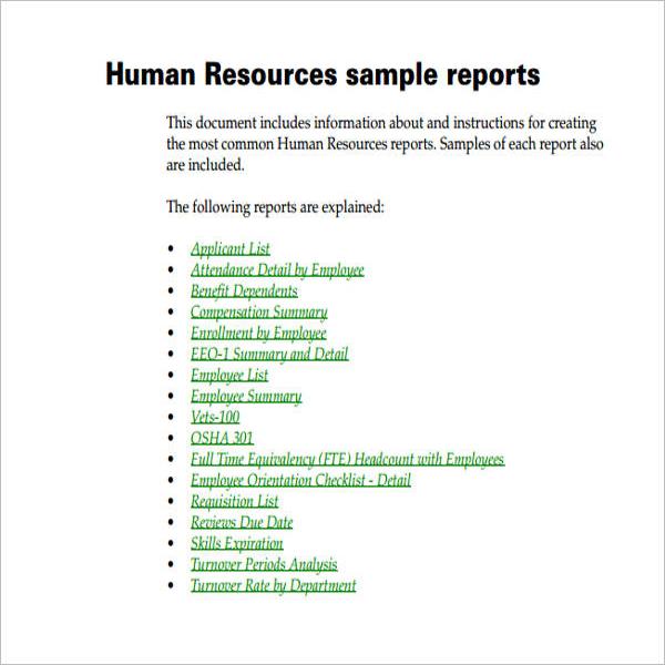 SampleHr Report Template Excel