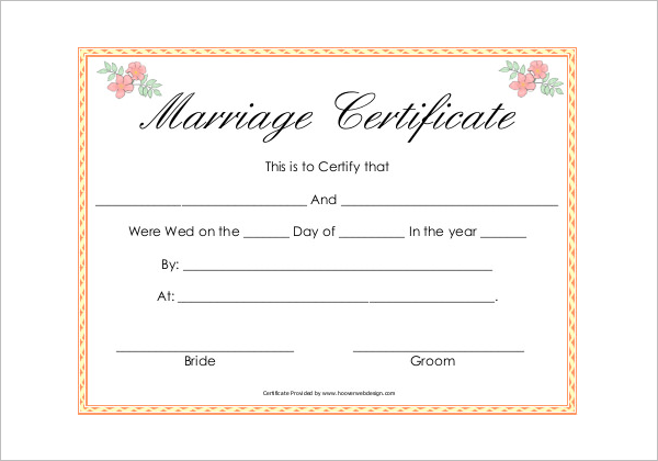 Sample Marriage Certificate Template